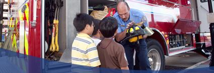 Photo of Fireman and Children