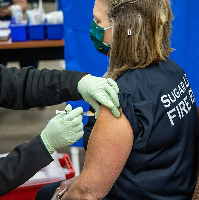 Sugar Land first responders receiving the COVID-19 vaccine.