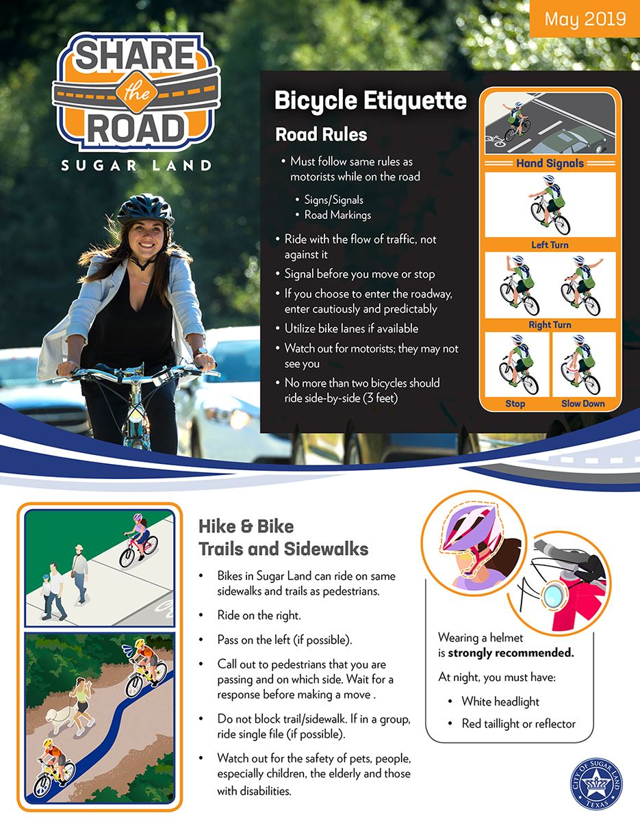 Share the Road Flyer - Bicycle Etiquette Opens in new window