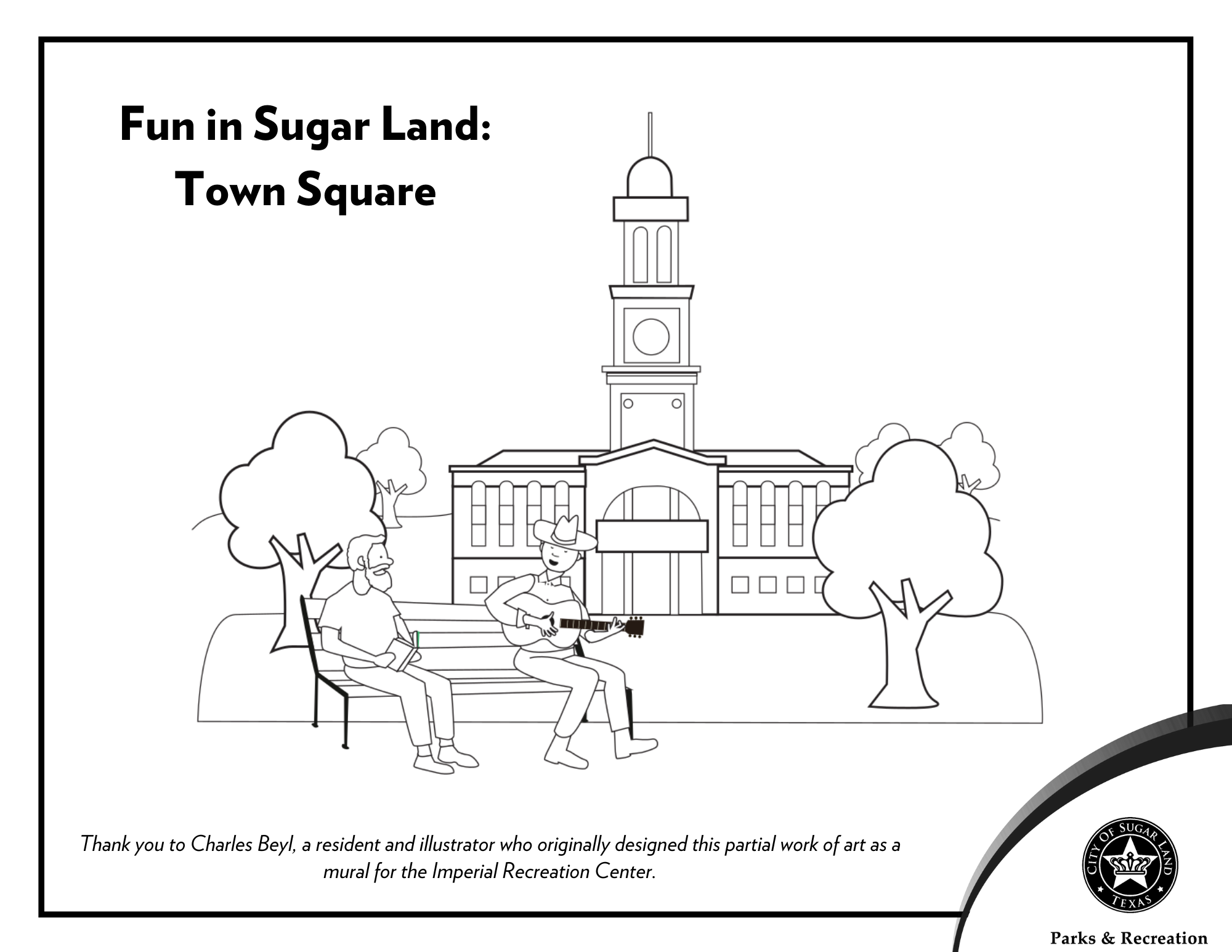 Town Square Coloring Page